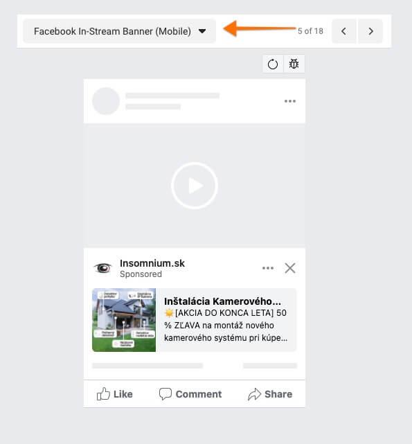 facebook in-stream banner mobil