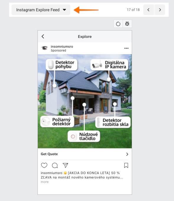 reklama na instagram explore nástenke