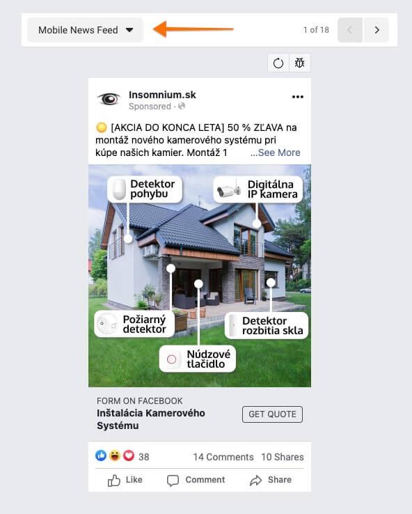 reklama na nástenke s novinkami v mobile